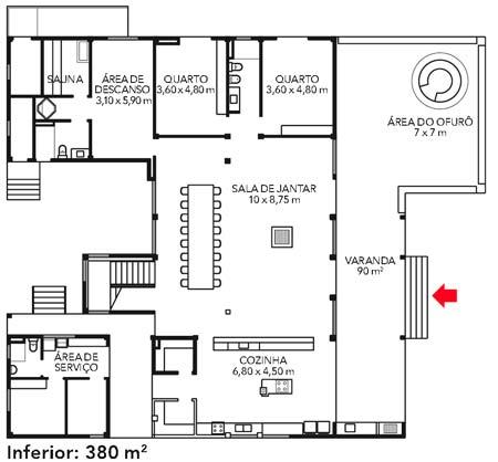 Sala de jantar, sauna e quartos ficam no piso inferior.