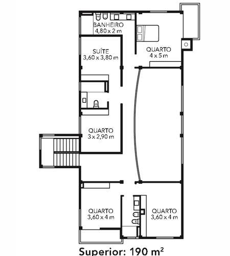 No pavimento superior, a área íntima, com espaço para acomodar os hóspedes.