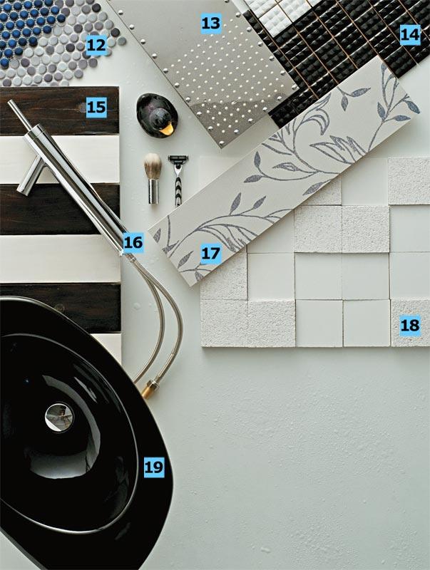 12. Pastilhas de porcelana da linha Dots nas cores Ash (cinza) e Oil (...