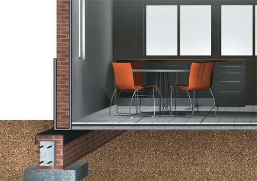 A argamassa aplicada sobre a superfície de concreto impermeabiliza tanto o p...