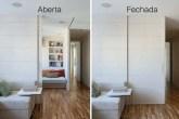 Entre a sala e o quarto de hóspedes, não há parede, apenas um painel fixo ...