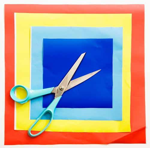 Corte quadrados de 15 x 15cm, 20 x 20cm, 25 x 25cm, 30 x 30cm, 12,5 x 12,5cm,...
