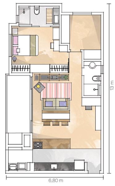 A área de 85 m² ficou bem distribuída e privilegia o estilo de vida do cas...