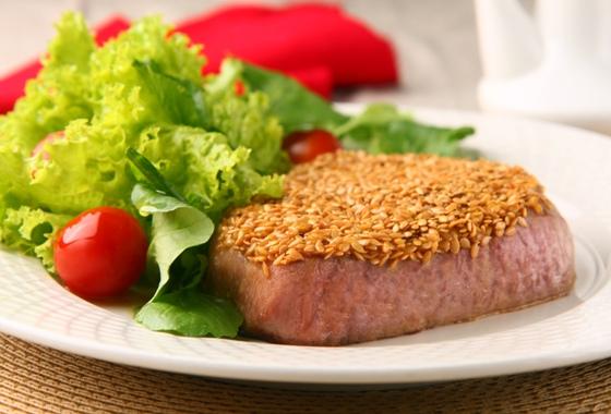 receita de atum com crosta de semente de linhaça