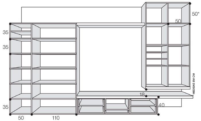 Projeto do armário com as medidas.