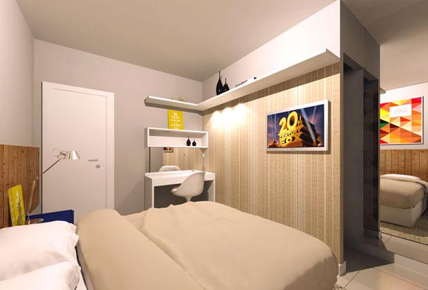 destaque-parede-de-drywall-cria-closet-em-quarto-de-casal