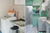 O revestimento cerâmico original permaneceu, mas, para deixar a lavanderia m...