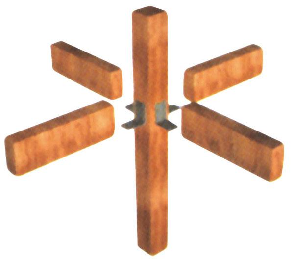 Vigas e pilares podem ser unidos por ferragens, parafusos ou encaixes sem pre...