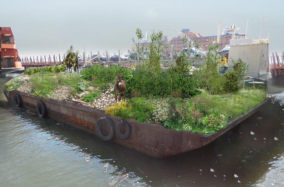 Horta pública feita em barco circula Nova York