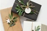 folhas na decoração de presentes