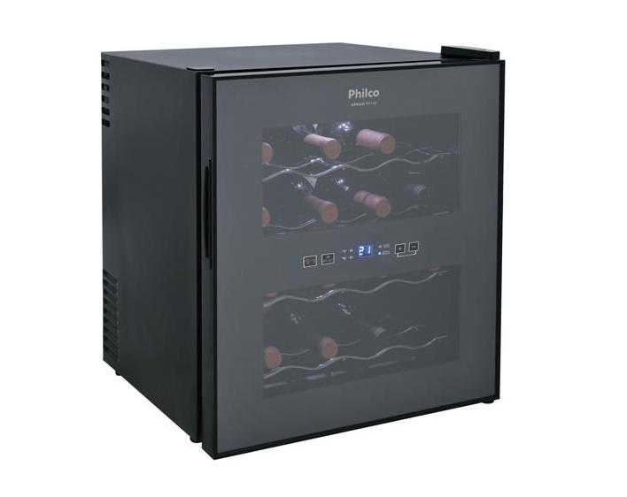 A Adega de Vinhos Philco PH16E PR com Porta Espelhada e Controle Digital de Temperatura para 16 Garrafas - Preto custa R$ 869,99 na Loja CASA CLAUDIA.
