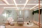 Berço suspenso em um quarto de bebê com a cor branca predominante
