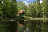 casa de madeira com um lago em uma floresta