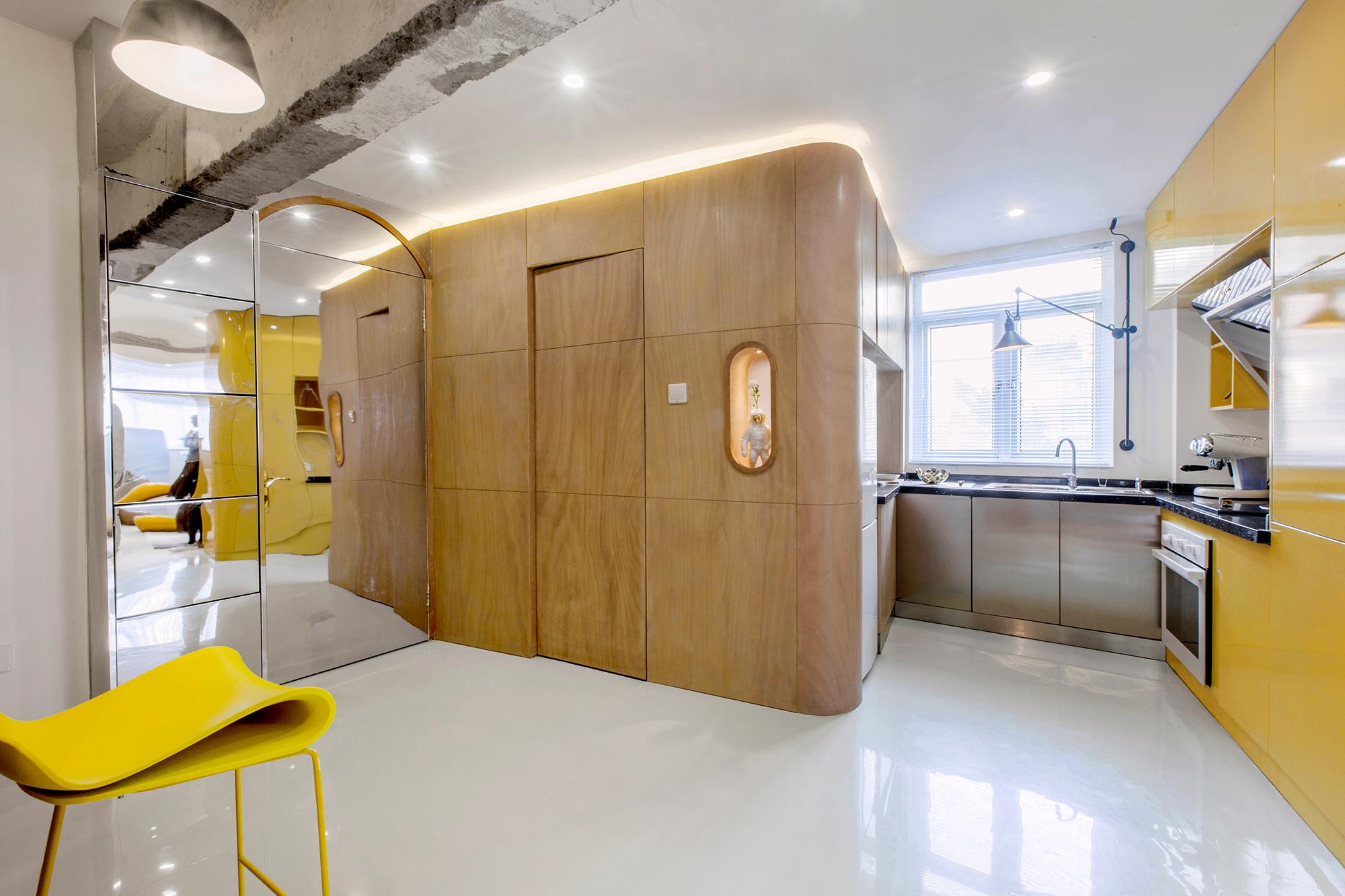 Apê de 48 m2 na China com cômodos divididos em caixas