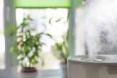 umidificador de ar em primeiro plano e plantas na janela ao fundo