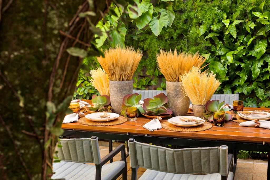 tronco da árvore, mesa posta e parede verde