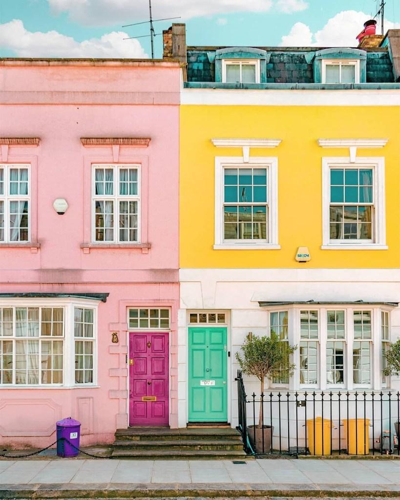 Fachadas coloridas em Londres, clicadas pelo fotógrafo Gabor Estefan, do perfil @gaborestefan