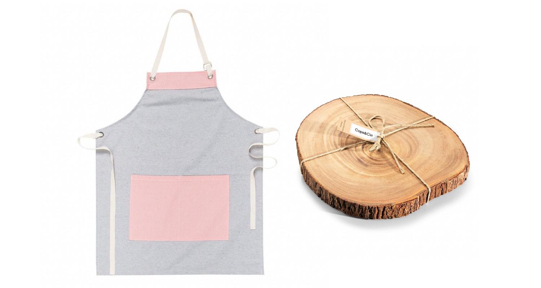 Avental e tábua de madeira