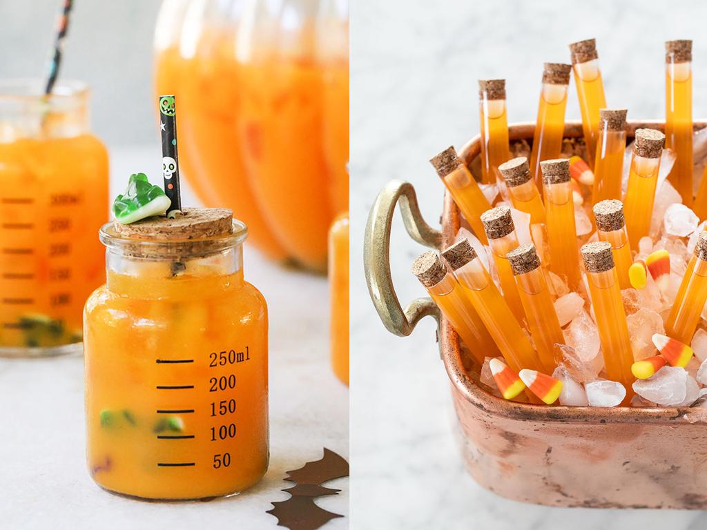 Bebidas divertidas de laranja e cenoura temáticas de halloween