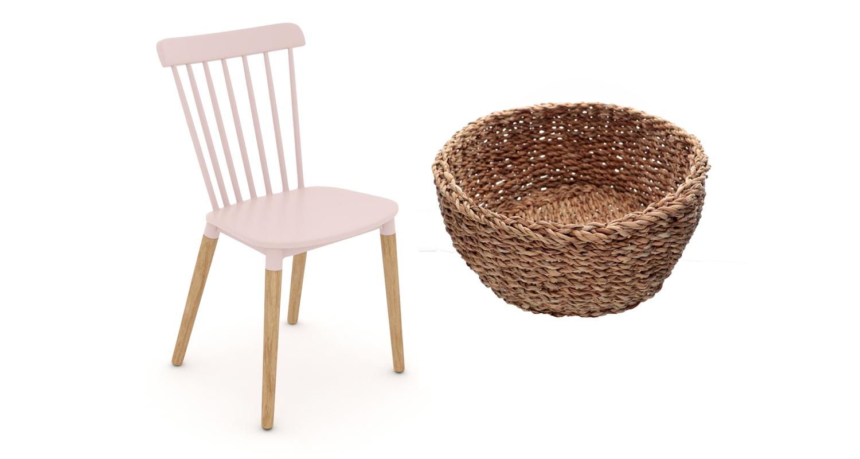 Cadeira rosa com pés palito e cesta trançada