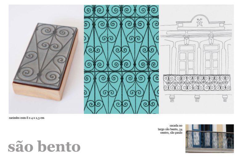 Carimbos do projeto Rendas Urbanas, de Ana Lua Contatore, inspirados nas grades de São Paulo