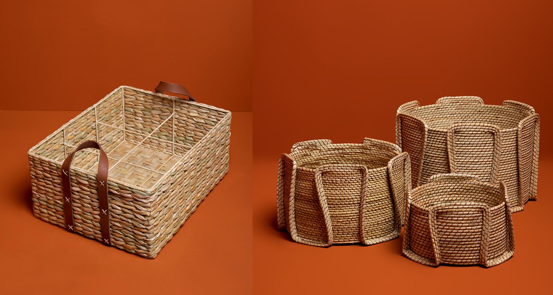 Caixa e cestos de palha da coleção Casa Brasil da Le Lis Casa