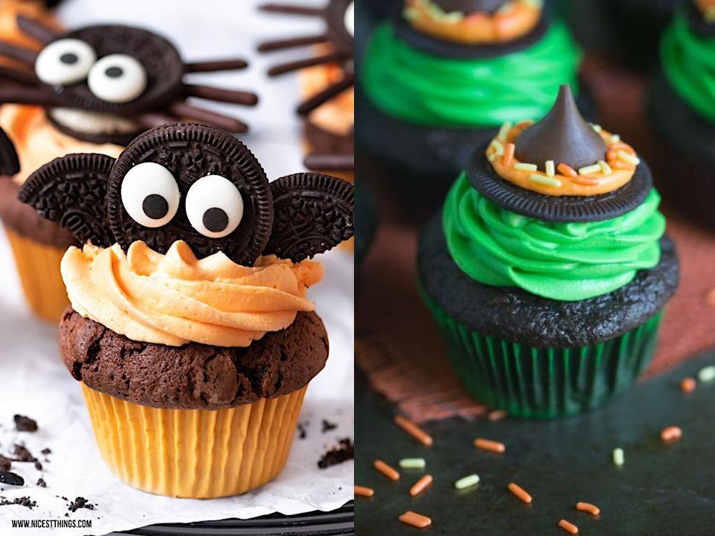 Cupcakes temáticos de halloween, com biscoito em formato de morcego e gota de chocolate simulando um chapéu de bruxa