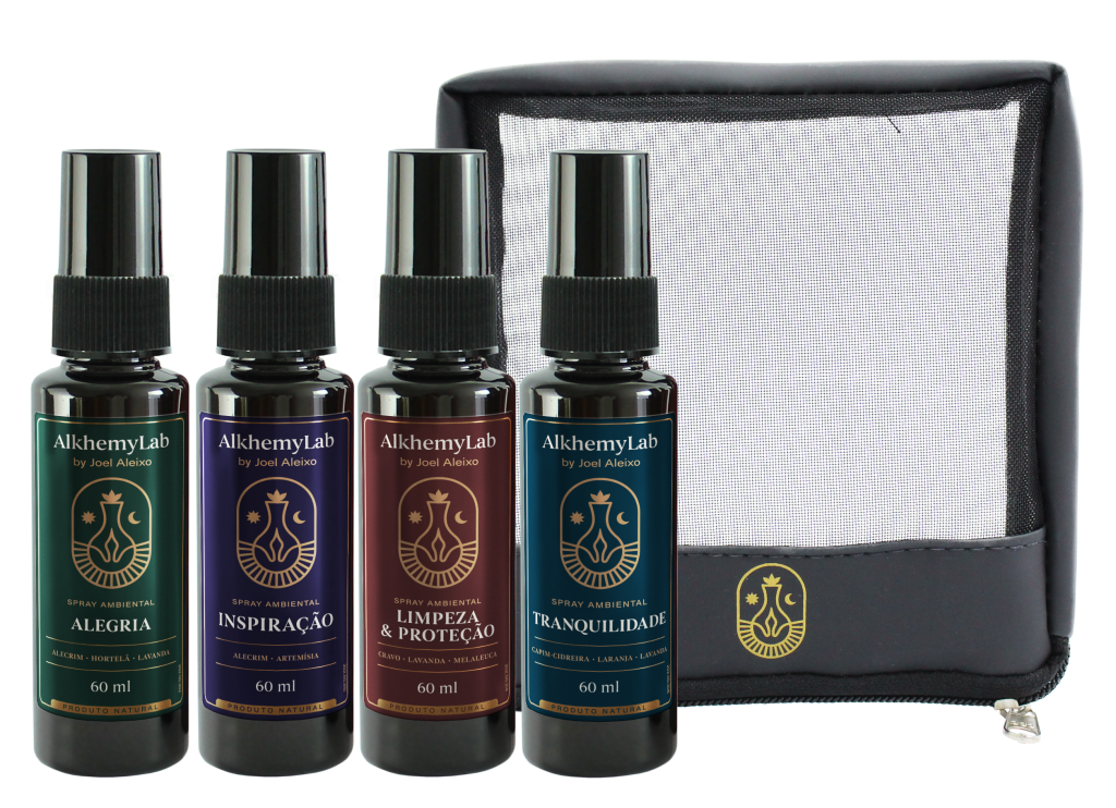 Sprays aromatizadores e necessáire