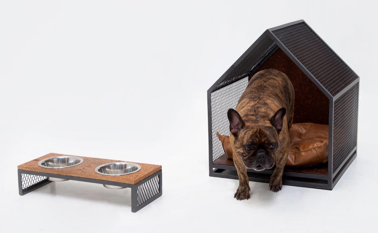 comedouro para animais ao lado de uma casinha de onde está saindo um cachorro