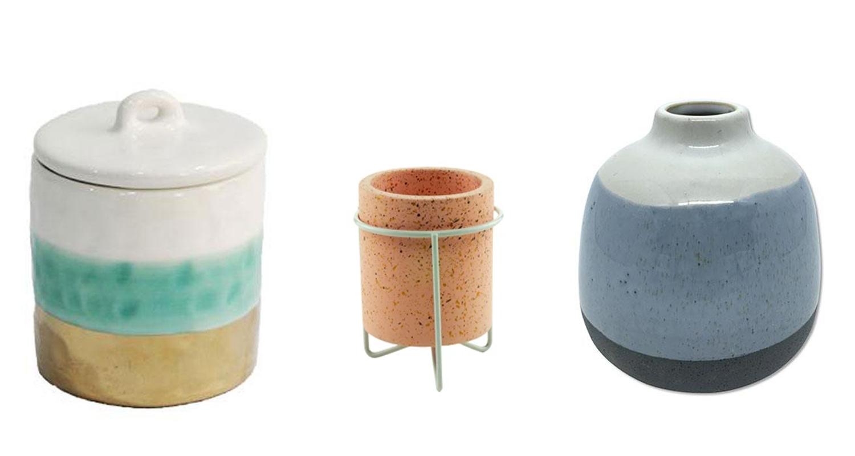 Vasos de Cerâmica e porta velas da Casaquetem