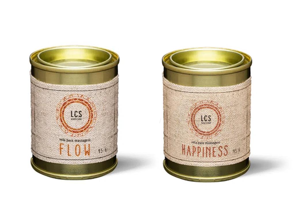 Velas para massagem em lata, da marca LCS