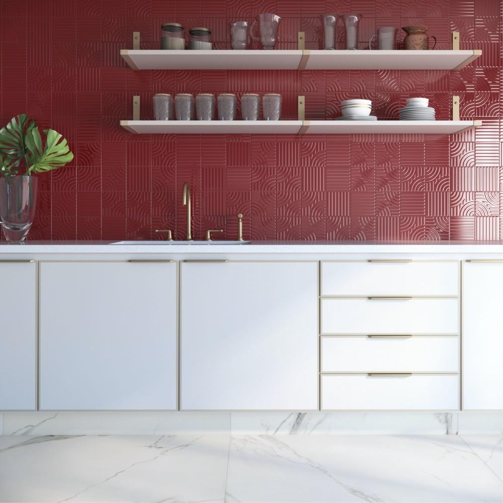 cozinha com azulejos vermelhos