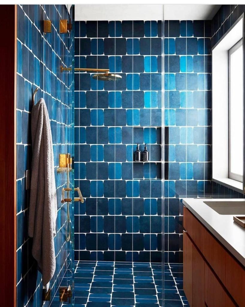banheiro com revestimentos azuis