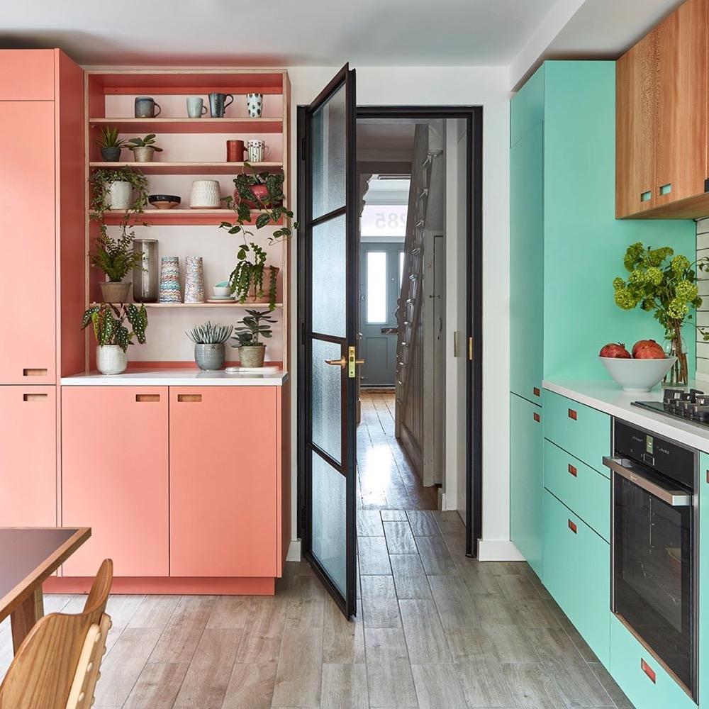 cozinha coral e verde