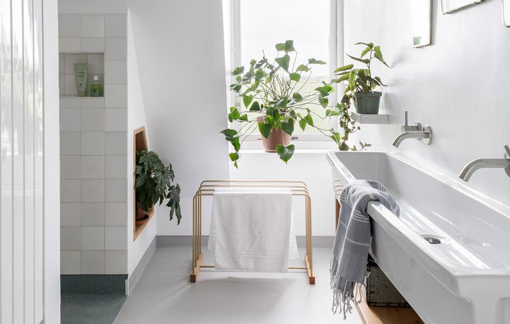 banheiro branco com vasos de plantas