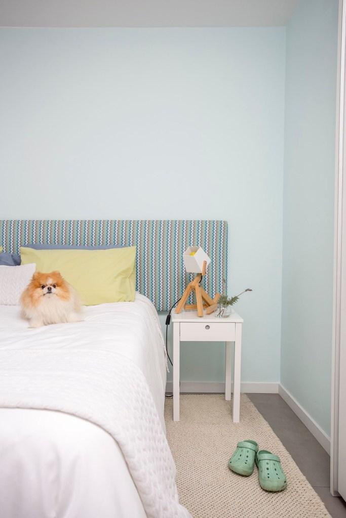 Cama com um cachorro (lulu da pomerania) sobre ela. Ao lado, uma mesa de cabeceira branca com uma luminária de madeira. No chão, um tapete bege e crocs (sandálias) verde claro. A parede é azul clara, e a cabeceira da cama é estampada com listras irregulares em tons de azul e bege.
