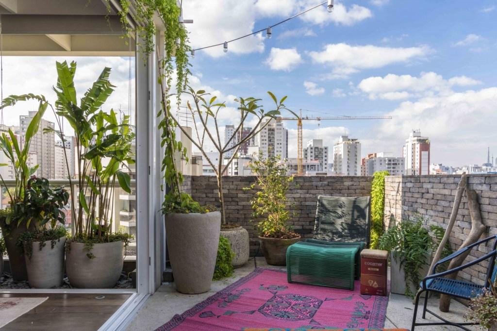 Terraço com tapete roxo, uma cadeira azul e outra branca. Vasos com folhagens e trepadeiras
