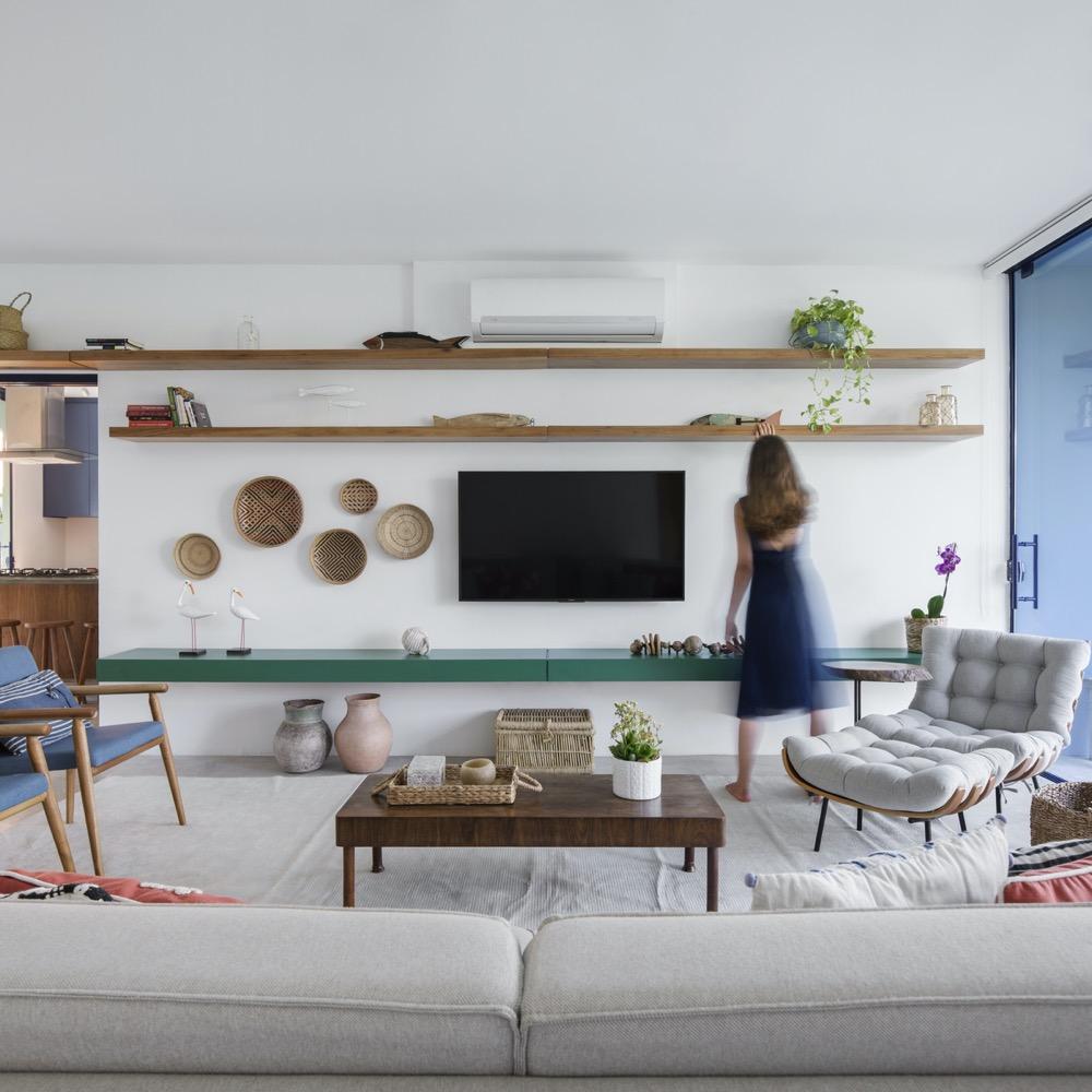 living integrado em casa de praia