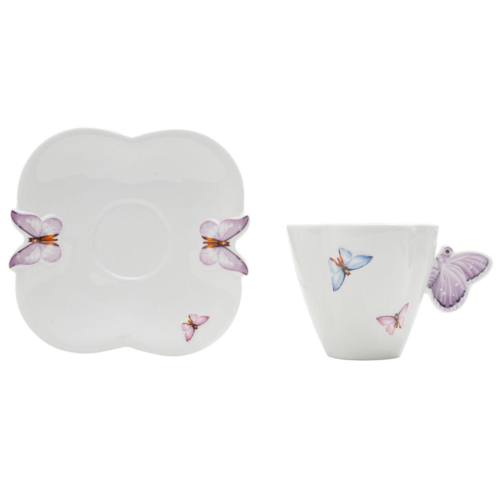 jogo de chá com asa de borboleta