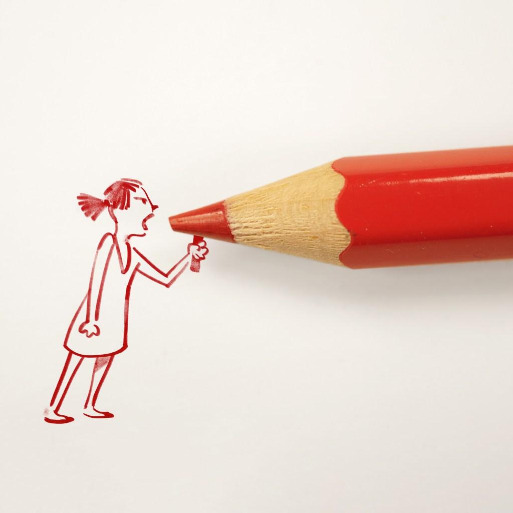 Desenho de mulher em vermelho, segurando um megafone representado por um lápis também vermelho