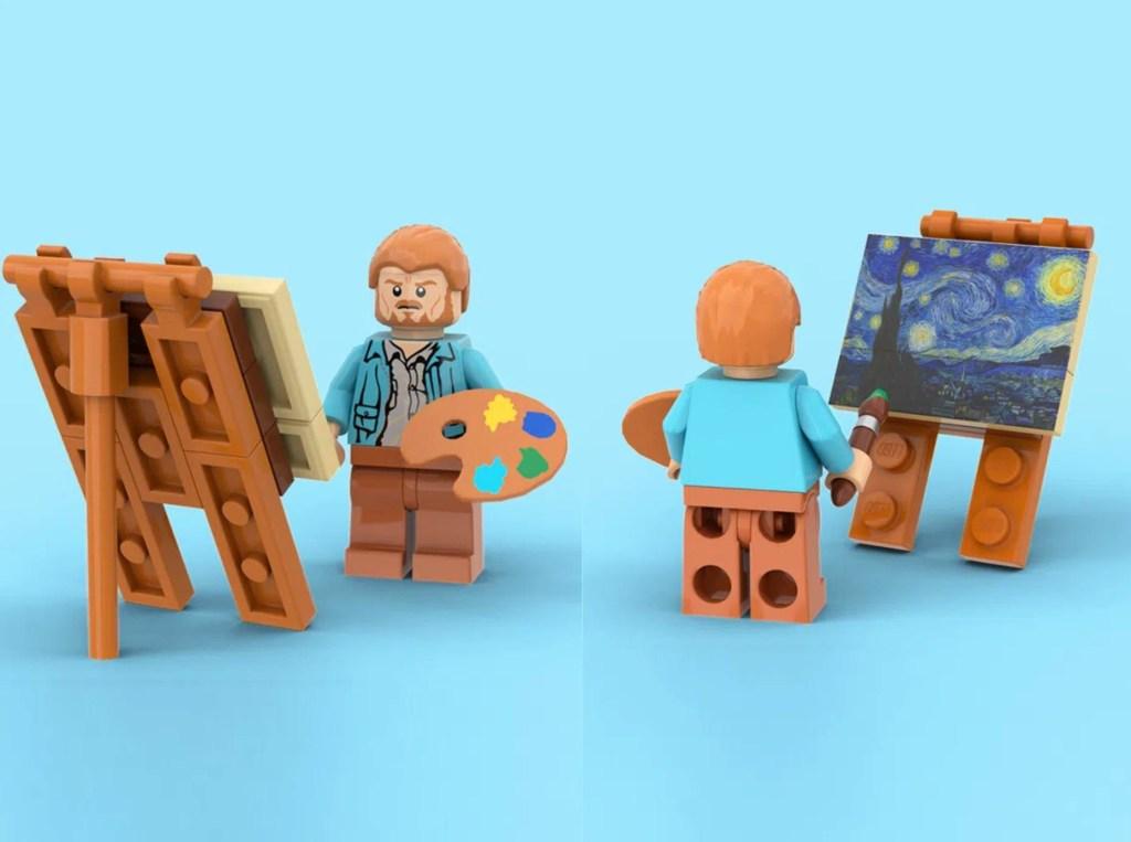 Miniatura Van Gogh Lego com miniatura da pintura Noite Estrelada