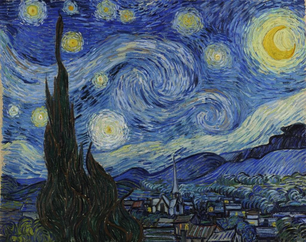 Pintura original de Vincent Van Gogh, Noite Estrelada