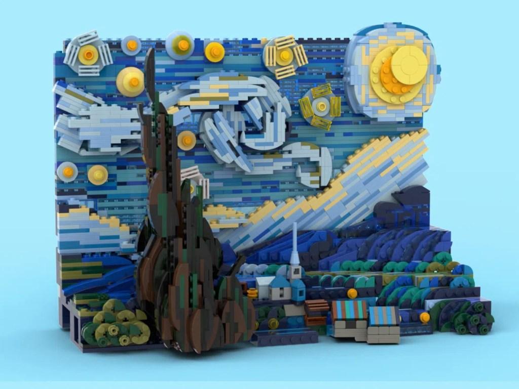 Obra de lego recriando o quadro Noite Estrelada, de Van Gogh