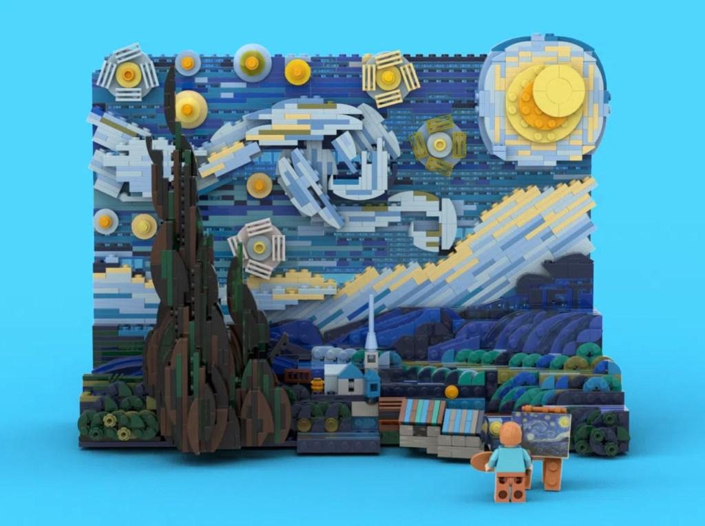 Obra de lego recriando o quadro Noite Estrelada, de Van Gogh. Na frente, a miniatura Lego de Van Gogh com a miniatura da pintura