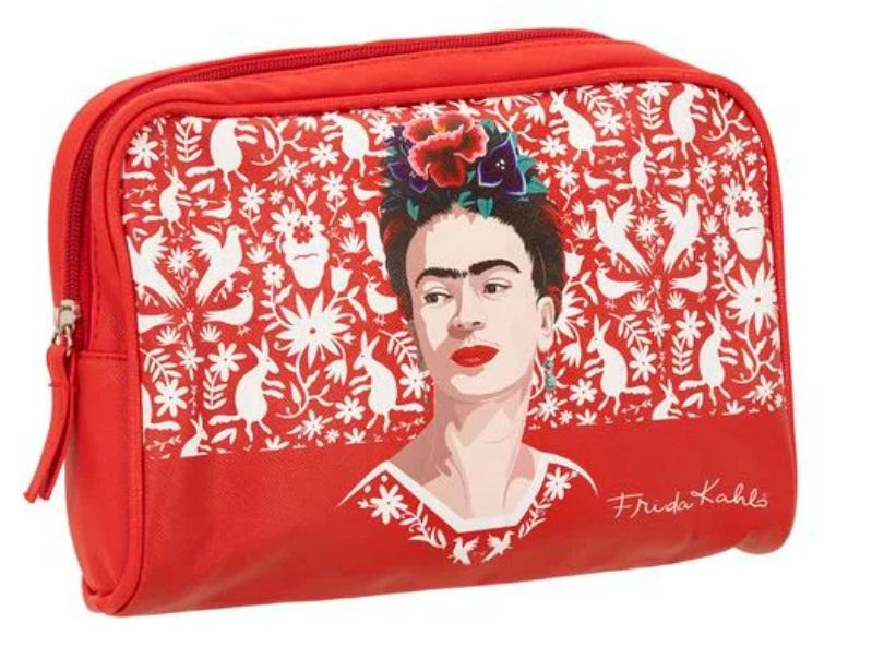 Necessaire vermelha com desenho de Frida usando um vestido vermelho com flores na cabeça