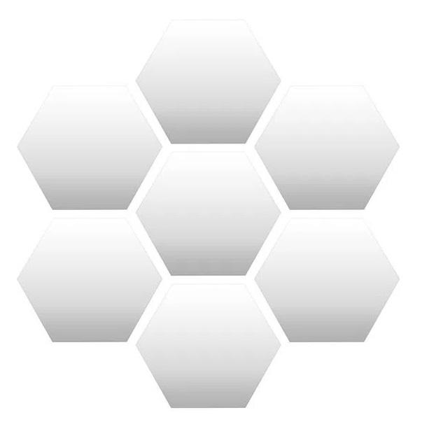 Espelhos em formato de hexágono arranjados em forma de colmeia
