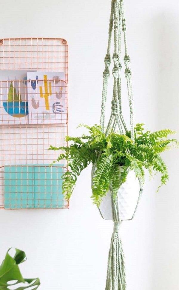 Vaso de samambaia suspenso por macramê. Organizador metálico de parede com desenhos e pasta ao fundo