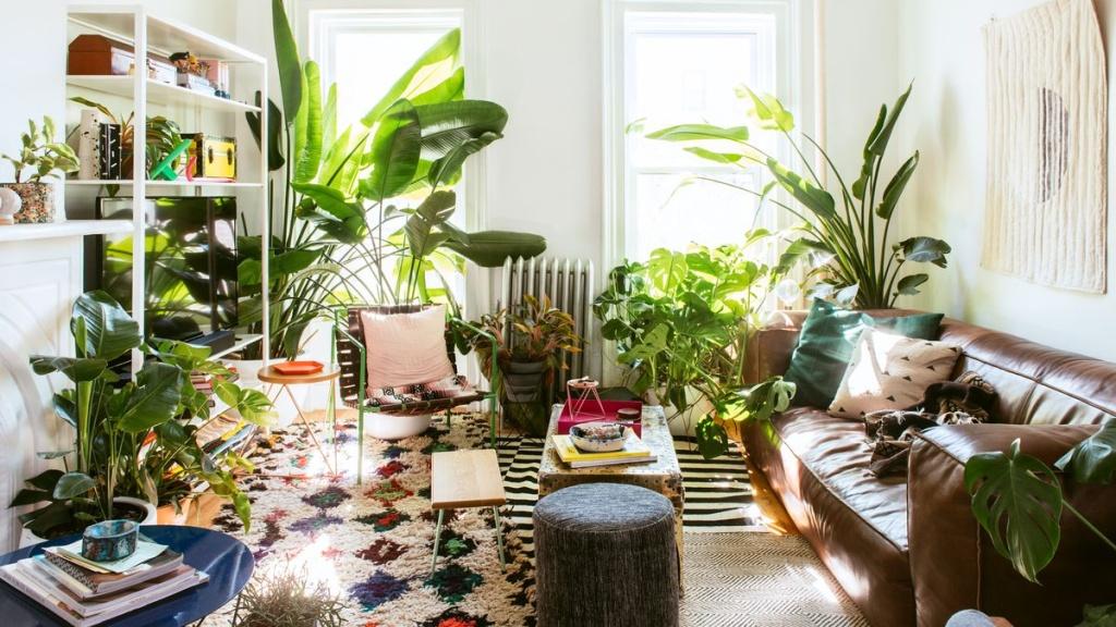 Apartamento com paredes brancas e duas janelas verticais. Estante branca e sofá em couro marrom. Plantas ao redor da estante e entre o sofá e a parede. Bananeiras, costelas de adão e outras folhagens