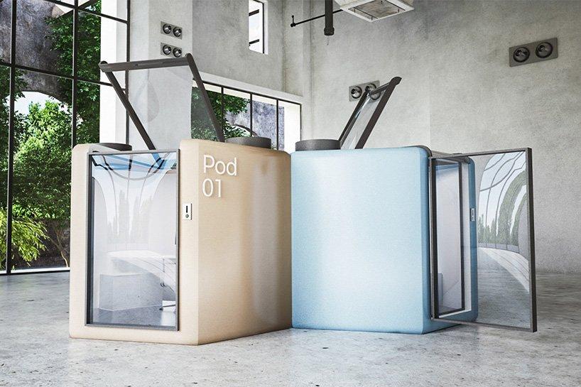Dois cubos em ângulo de 90 graus. Um amarelo um azul. Possuem portas transparentes e tampos transparentes