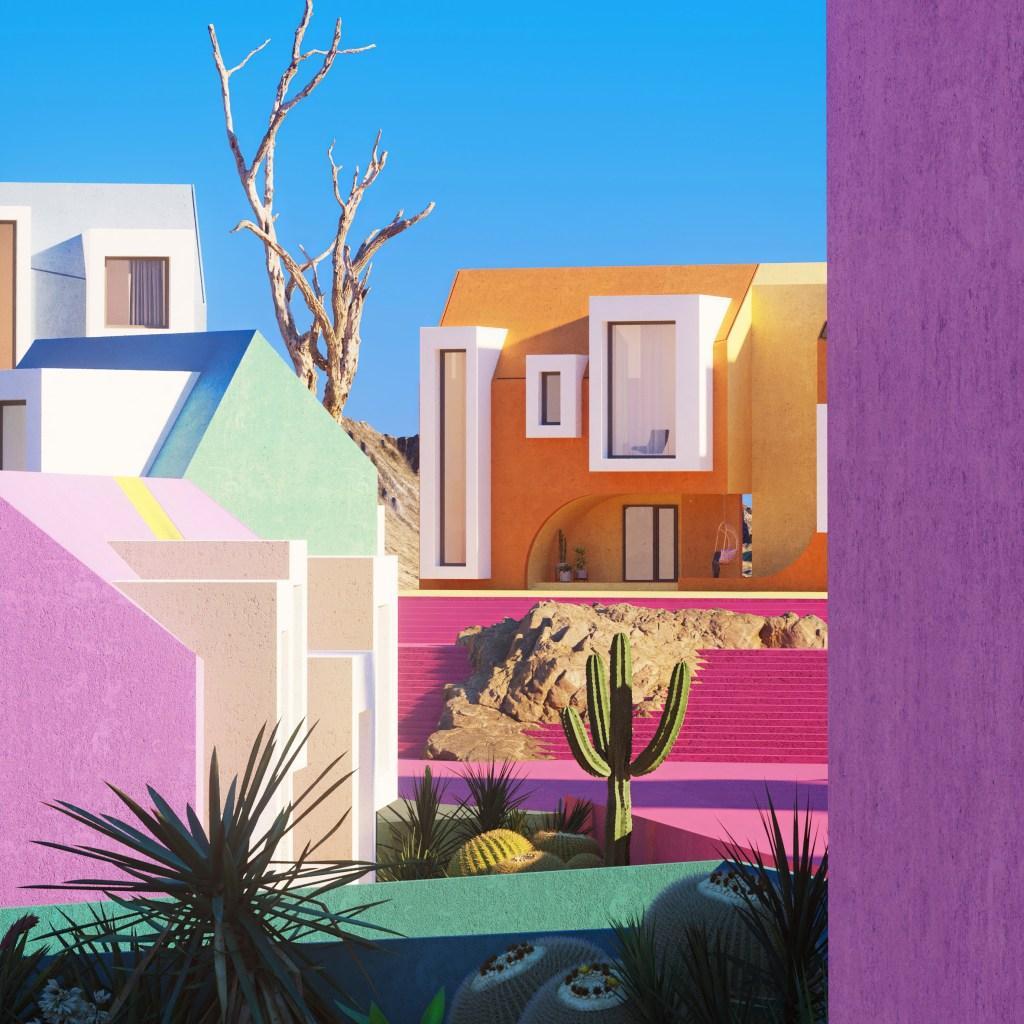 Paisagem colorida com formas geométricas, com cactus e casas